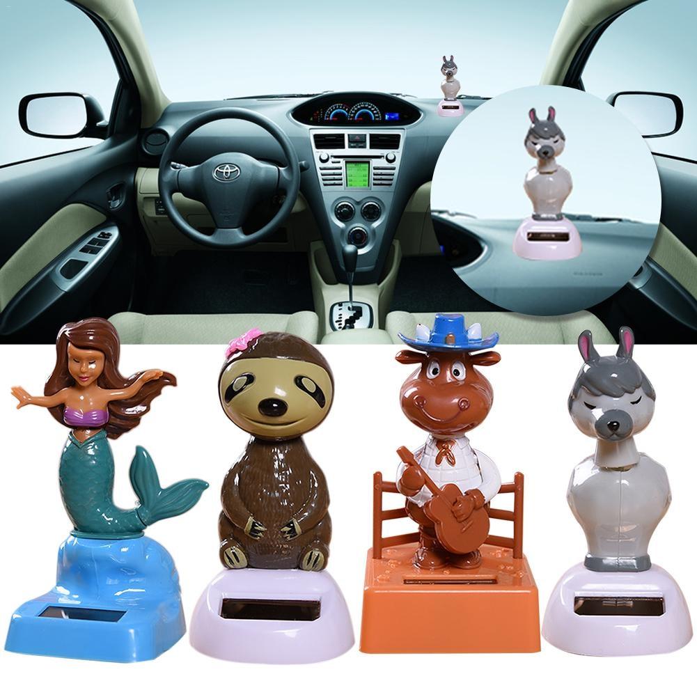 Innovative Car Ornament Solar Powered Dancing Shaking Head Cartoon Animal Doll A