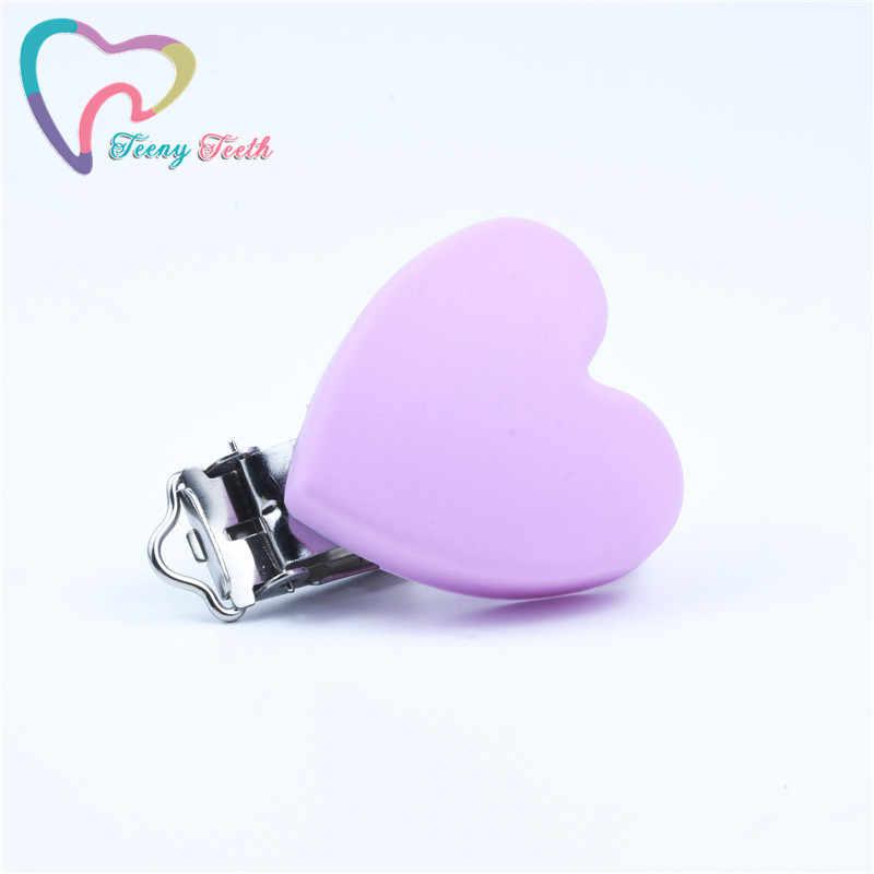 1 PC לב סיליקון מוצץ קליפים מחזיק BPA משלוח מזון כיתה סיליקון נשכן עבור תינוק בקיעת שיניים מוצץ שרשרת ביצוע