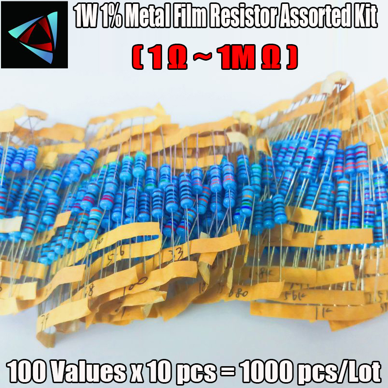 1000Pcs 100Values Each 10Pcs Metal Film Resistor 1% 1W Assorted Kit (1 Ohm~ 1M Ohm Capacitor Range ) Hot Sale