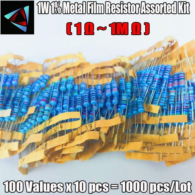 1000Pcs 100Values Each 10Pcs Metal Film Resistor 1% 1W Assorted Kit (1 ohm~ 1M ohm Capacitor Range ) Hot Sale