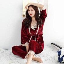 Autumn Winter Warm thickening Pajamas Set Women Sexy Sleepwear For Sleeveless Strap Nightwear Long Pant Robe