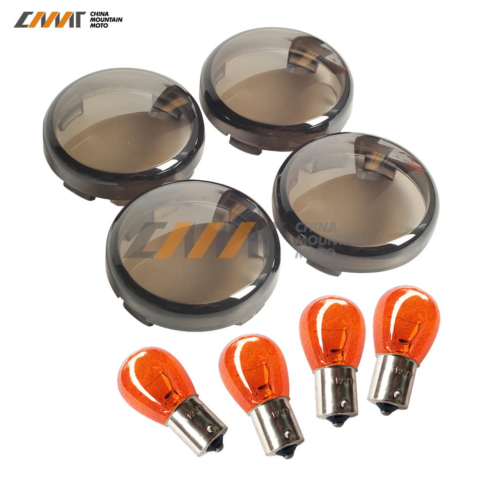 4X smoke motorcycle Signal Lens and Bulb Kit case for Harley Sportster XL883 XL1200 X48 72 Dyna V-Rod VRod Night Rod Muscle