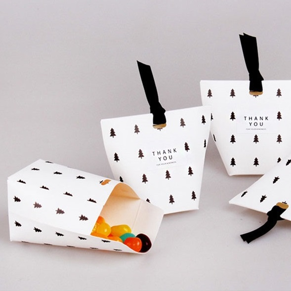 Simple Design 30pcs Black Tree Paper Box For Cookie Candy Chocolate Ft Packaging Cristma ...