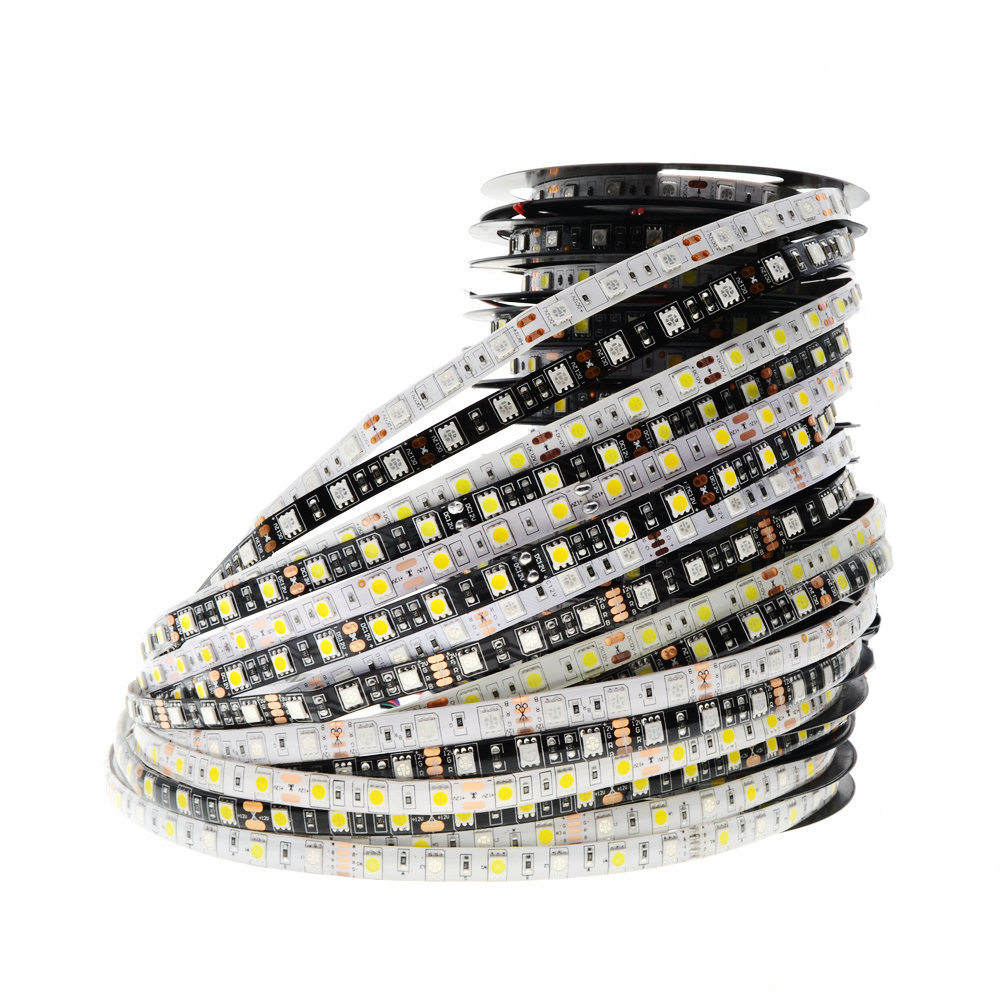 5050 LED RGB RGBWW SMD Light Chip DC 12V Hiasan Rumah Lampu 60Leds / M 300LED Tape 5m / roll