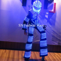AS001 Mens LED light luminous robot costumes party bar ballroom dancing clothes/led colorful costume dj disco clothes stage wear