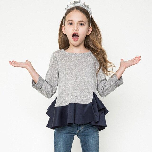 Мода Весна И Осень детская Clothing Girls Волана Шить Короткие Полный Нерегулярные Длинными Рукавами Шею Свитер Пальто