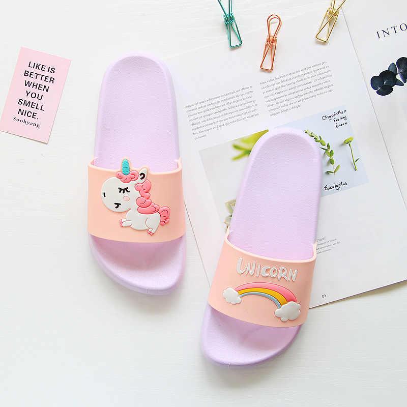 Verano unicornio zapatillas mujer 2019 Casual chanclas casa Zapatillas Zapatos planos para exteriores playa Slides sandalias chaissures Femme