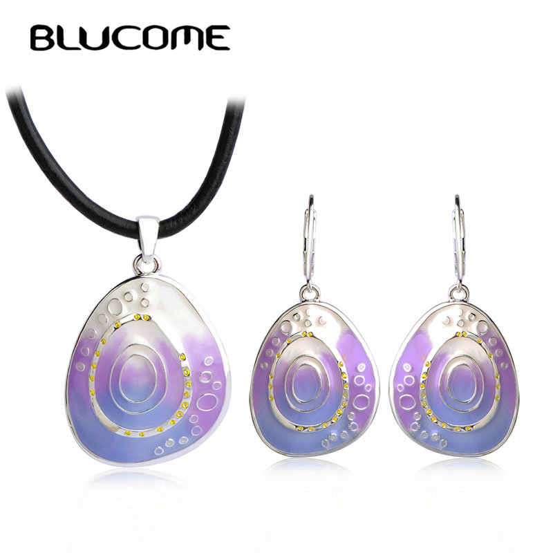 Blucome Vintage Colorful Circle Enamel Necklace Earrings Set Rope Chain Pendant Long Drop Earrings Women Lady Party Jewelry Sets