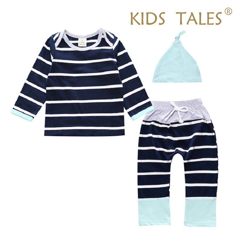 3 pcs.Baby Boys Girls Baby Clothes Set Newborn Tops T-Shirts With Long Sleeve Pants Casual Hat Body Equipment Clothing Set YZ168