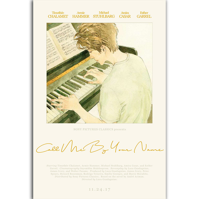 G3168 Call Me by Your Name Timothee Chalamet Elio Hot Movie A4 Art ...