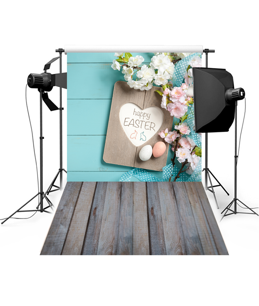 7x10 FT Hello Vinyl Photography Backdrop,Hello Spring Printed in White Hand Lettering Design on Watercolor Pastel Blue Background for Photo Backdrop Baby Newborn Photo Studio Props
