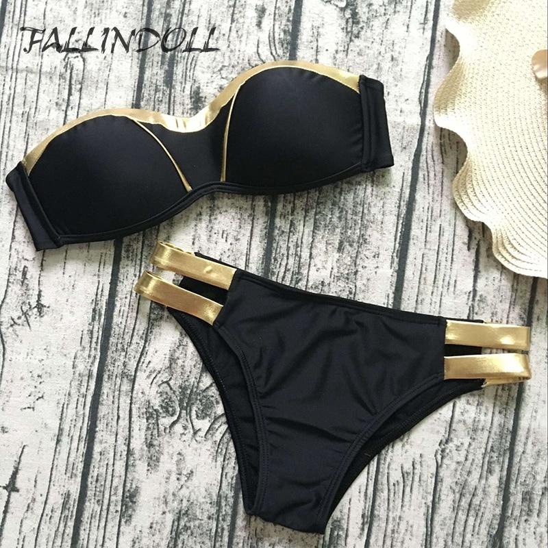 FALLINDOLL Sexy Bikinis Women Swimsuit Swimwear Push UP Patchwork Brazillian Bikini Set Bathing Suit Summer Beach Wear Biquini