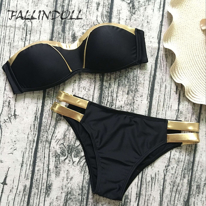 FALLINDOLL Sexy Mulheres Bikinis Swimsuit Swimwear Push UP patchwork Brazillian Bikini Set Maiô Summer Beach Wear Biquini