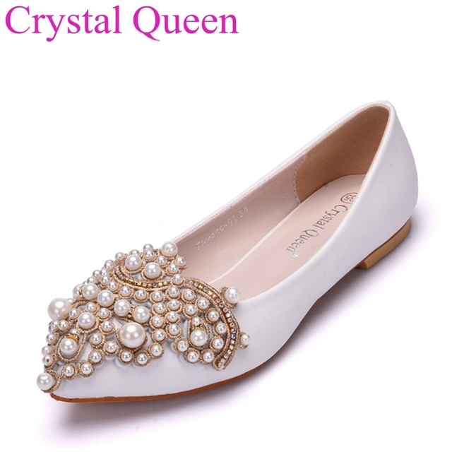 Fashion pearls flats pointed toe wedding shoes flat heel casual shoes for  women ballet flats white