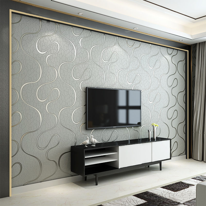 Modern 3D Stereoscopic Living Room Bedroom TV Background Wallpaper Curve Stripe Non-woven Breathable Soundproof Wall Paper Rolls