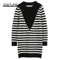Fashion Striped Dress 2018 New Arrived Spring Womens Knitted Sweater Dress Long Sleeve Chain Ladies Slim