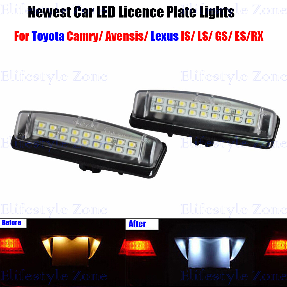 2 x LED Number License Plate Lamps OBC Error Free 18 LED For Toyota Camry Echo Prius Lexus IS LS GS ES RX Mitsubishi Golt Plus direct fit white led license plate light lamps for honda civic city legend accord4d canbus free no obc error code