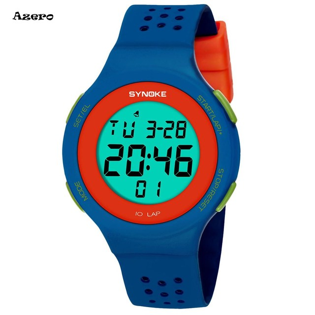 SYNOKE Multi-Function 50M Waterproof Watch LED Digital Double Action Watch Child