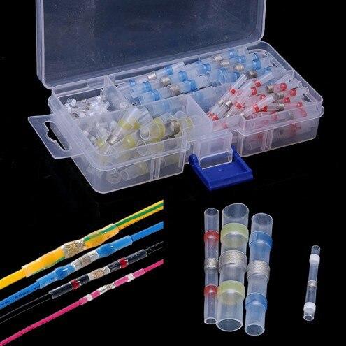 100 piezas caja de Termocontraíble aislado soldadura serie tubería combinación terminales con soldadura impermeable calor anillo
