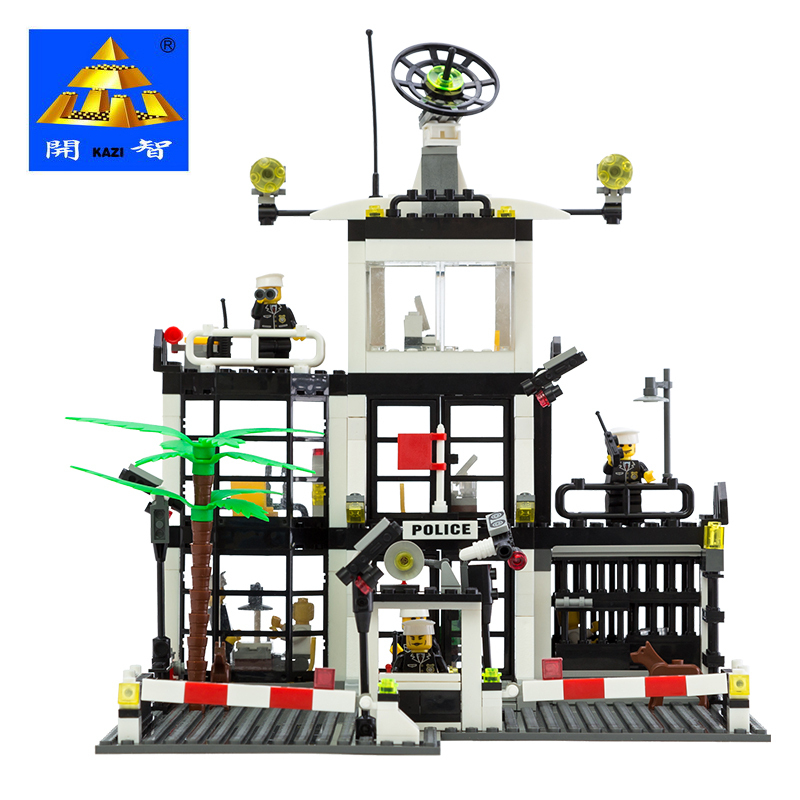 Kazi Model building kits compatible with lego city Police office 808 3D blocks Educational toys hobbies for children lepin 02012 city deepwater exploration vessel 60095 building blocks policeman toys children compatible with lego gift kid sets