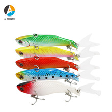 AI-SHOUYU Hard Bait 1pc 70mm 16g VIB Fishing Lure with 2 Hooks and Plastic Tail Winter Ice Salt Tackle