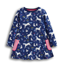 Girls Dress New designed baby girls dresses kids spring autumn cartoon dress with printed cute animals top quality girl clothing jumping meters top brand dresses girls baby new clothing cotton striped applique animals princess autumn spring kids dress girl