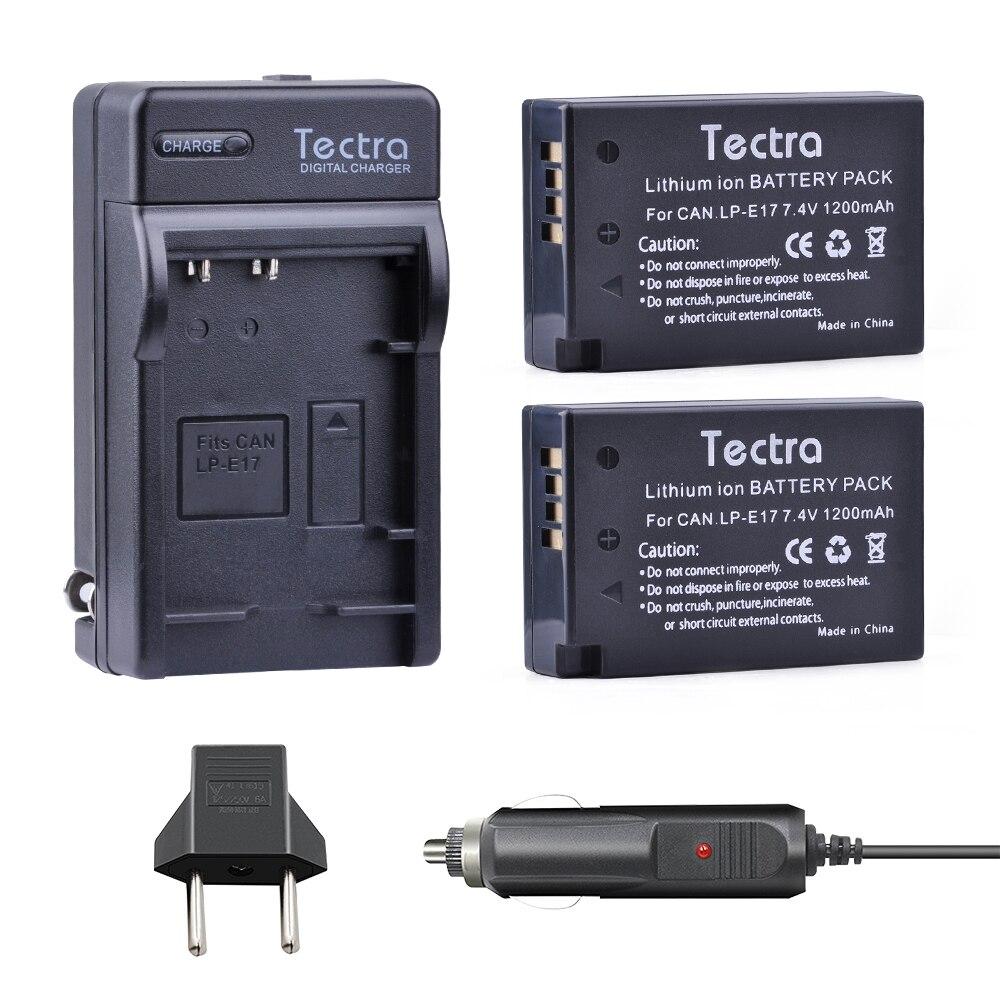 Tectra 2 шт. <font><b>LP</b></font>&#8212;<font><b>E17</b></font> <font><b>LP</b></font> <font><b>E17</b></font> Li-Ion Bateria + цифровой зарядное устройство + автомобильный разъем для Canon EOS 200D Rebel T6i 750D T6s 760D M3 8000D поцелуй X8i