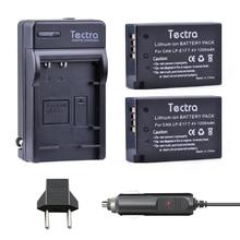 Tectra 2PCS LP-E17 LP E17 Li-ion Bateria+Digital Charger+Car Plug for Canon EOS 200D Rebel T6i 750D T6s 760D M3 8000D Kiss X8i