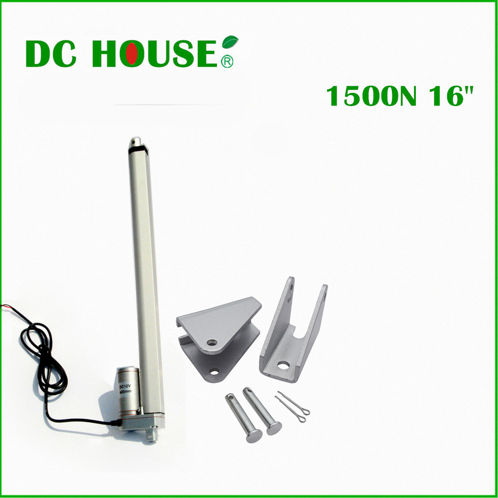 400mm/16inch Stroke Heavy Duty DC 12V 1500N/330lbs Load Linear Actuator 16 Electric Motor Load Mini Linear Actuator 10inch 250mm stroke 12v dc electric linear actuator 4 27mm s 150kg load 12 36v dc 1500n heavy duty tubular electric motor 24v