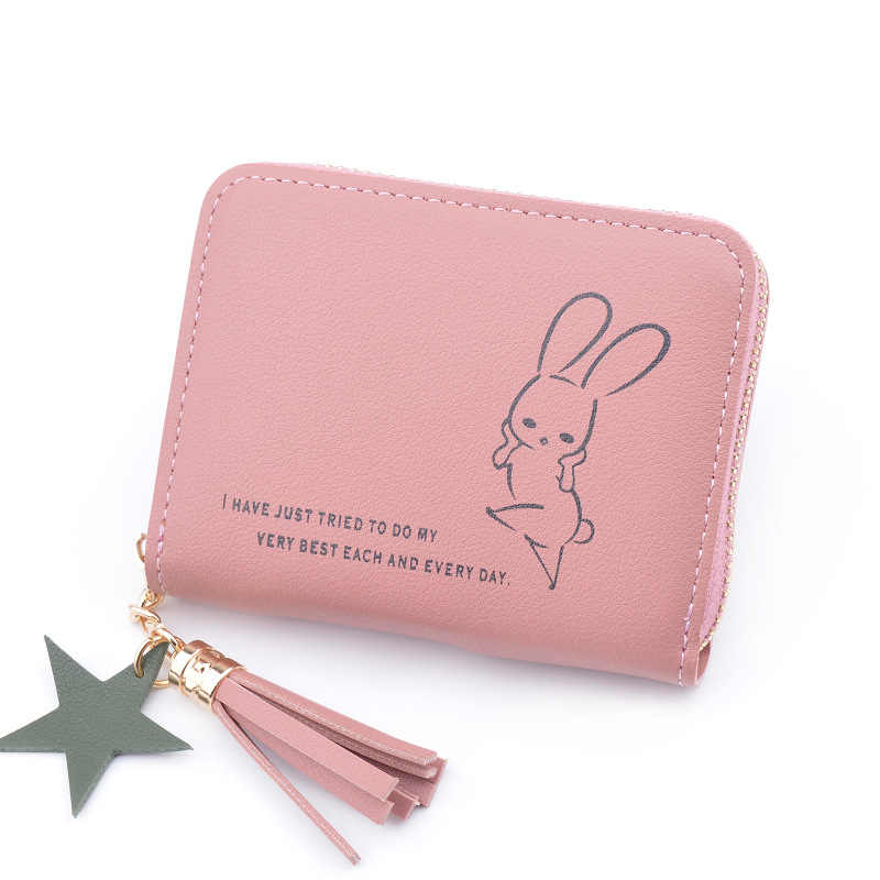 Cartoon Cute Rabbit Anime PU Leather Short Wallets Slim Mini Womens Small  Clutch Female Coin Purse a405417707185