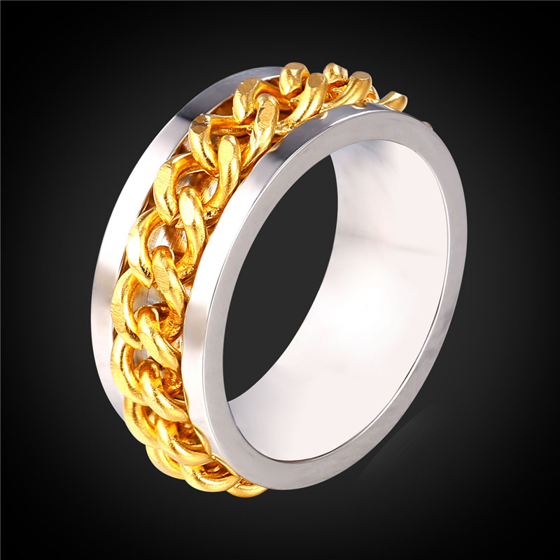 Stainless Steel Rings For Men Jewellery Wholesale Gold Color Two Tone Wedding Rings Men Jewelry 2016 New GR2093
