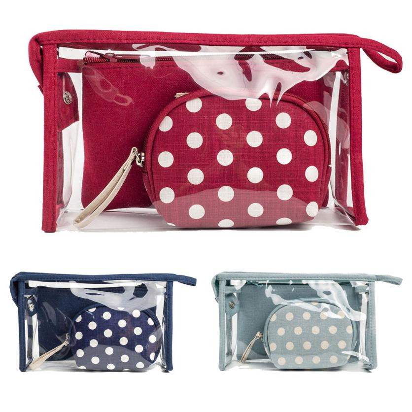 Package Casual-Bag Strapless Transparent Small Fashion Ladies Dot Three-Piece Travel