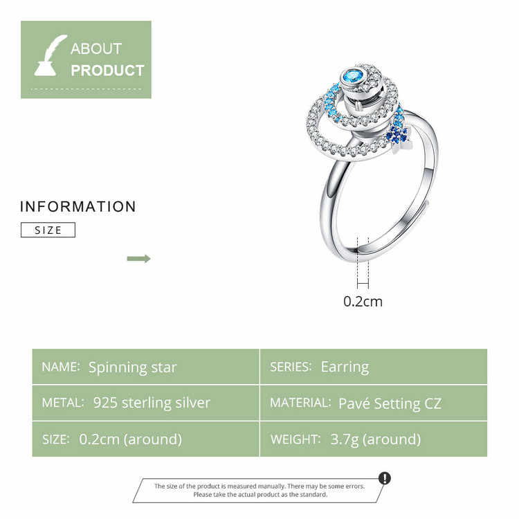 BAMOER Galaxy Star Adjustable Ring Genuine 925 Sterling Silver CZ Universe Planet Finger Ring Luxury Brand Jewelry BSR035