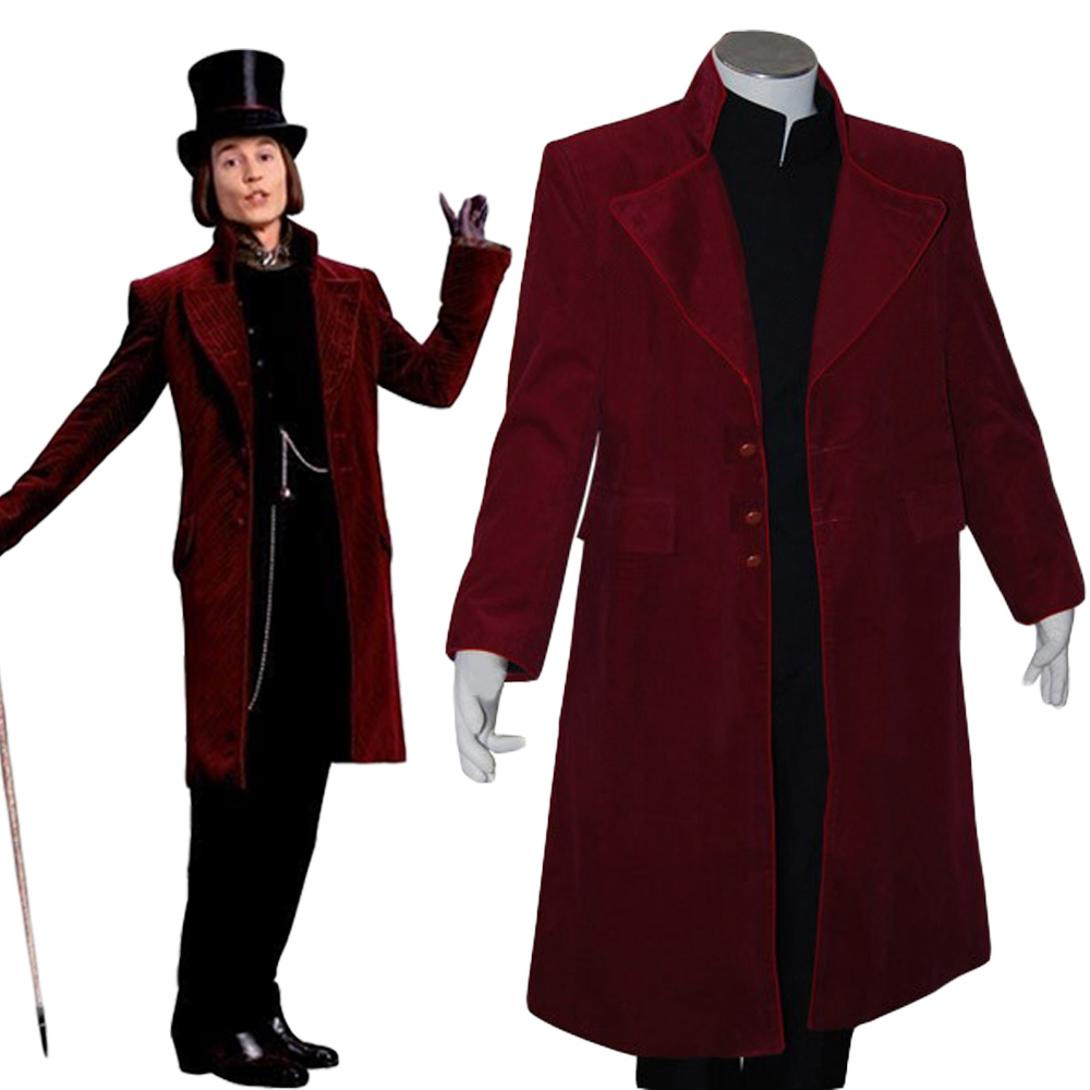 Charlie and the Chocolate Factory Cosplay Johnny Depp Willy Wonka Costume Jacket Coat For Adult Men Halloween Carnival Costume