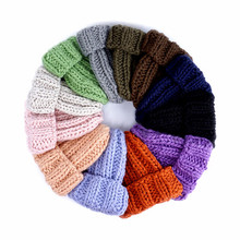 New European Women's Knitted Cap Winter Warming Pure-color Curled Coarse Wool Cap Warming Girl's Fashion Cap Knitted couple hat