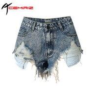 ACEMIRIZ Lässige Jeans Shorts Loch Shorts Frauen Lichtfarbe Der Mittleren Taille Tragen Gewaschen Ausgefransten Jeans-Shorts TOP090 #