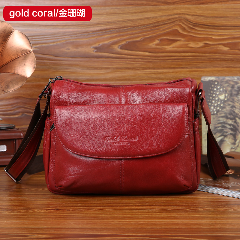 Gold coral brand New style genuine leather messenger bags for women Fashion female shoulder bags women's cow leather handbag