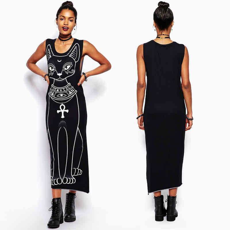 Женское длинное Макси платье 2019 модное облегающее платье с принтом кота Элегантные Вечерние Платья Туника плюс размер