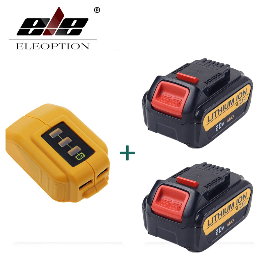 ELEOPTION 2 PCS 20V 4000mAh Li-ion Replacement Battery For Dewalt DCB181 DCB18 DCD785 DCD795 + 1x DCB090 USB Power Source Addon eleoption 2pcs 18v 3000mah li ion power tools battery for hitachi drill bcl1815 bcl1830 ebm1830 327730