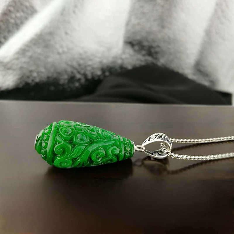 เงินแท้ 925 จี้หยกสีเขียวสำหรับธรรมชาติดอกไม้อัญมณีแกะสลักส่วนบุคคลจี้ Bisuteria