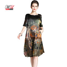 136471c90 MLinina Vintage Ethnic Printed Design Dress Women Summer Half Sleeve Silk  Dresses Elegant Woman Loose Vestidos