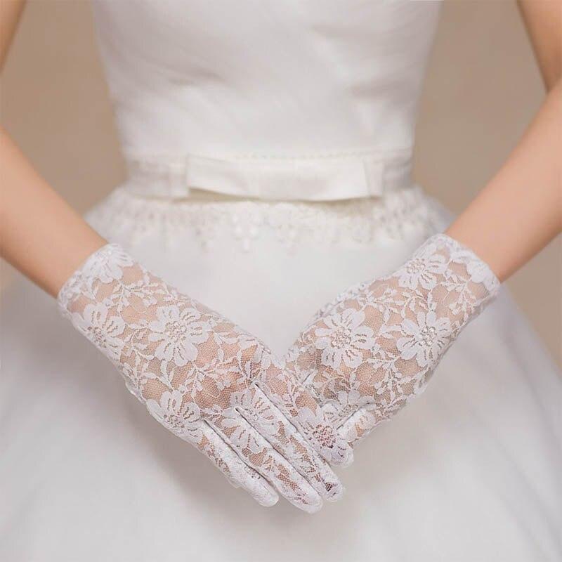 Encaje caliente Faux mujeres guantes novia sexy fishnet crochet ...