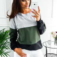 2018 Fashion Sexy Sweatshirts Splice Color Sweatshirts Long Sleeve Women Loose Style Sweat