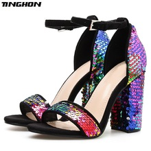 TINGHON Spring New Pumps Women Shoes Sandals Sequined cloth High Heels 11cm Ladies Party