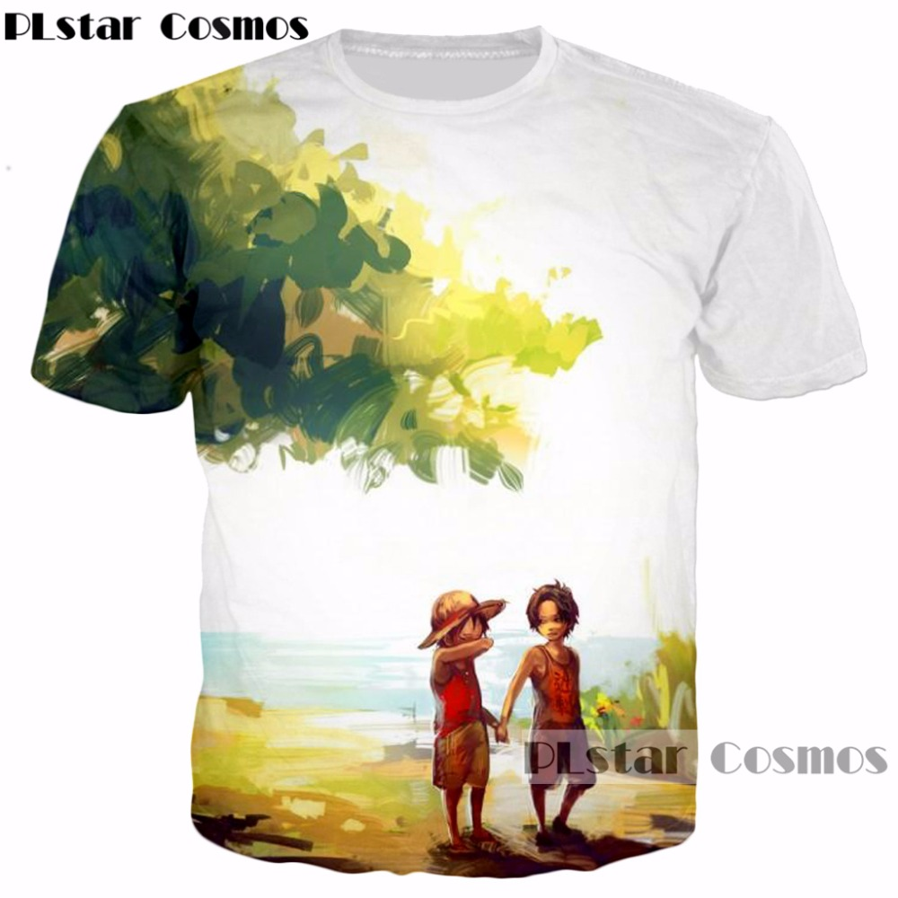PLstar Cosmos 2017 summer Harajuku style 3d t-shirt Anime One Piece Monkey D Luffy/Portgas D Ace print Men Women casual t shirt