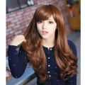 New Fake Hair Long Women Shaven Wavy Female Synthetic Full Front Wigs Oblique Bangs Lifelike Breathable For Girls Anime Cosplay