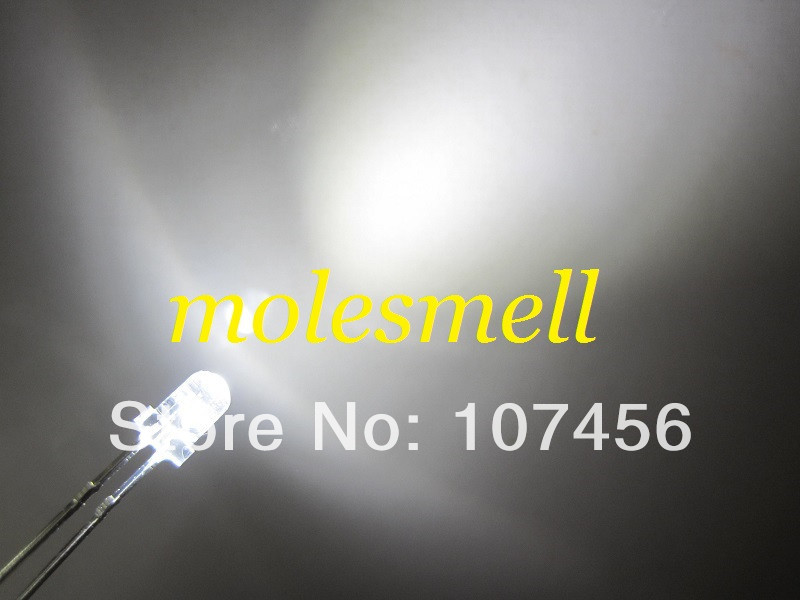 Branco Levou Resistores Frete Grátis 3mm Light-emitting Diodo Water Clear White Led Rodada Lâmpada 200x3mm