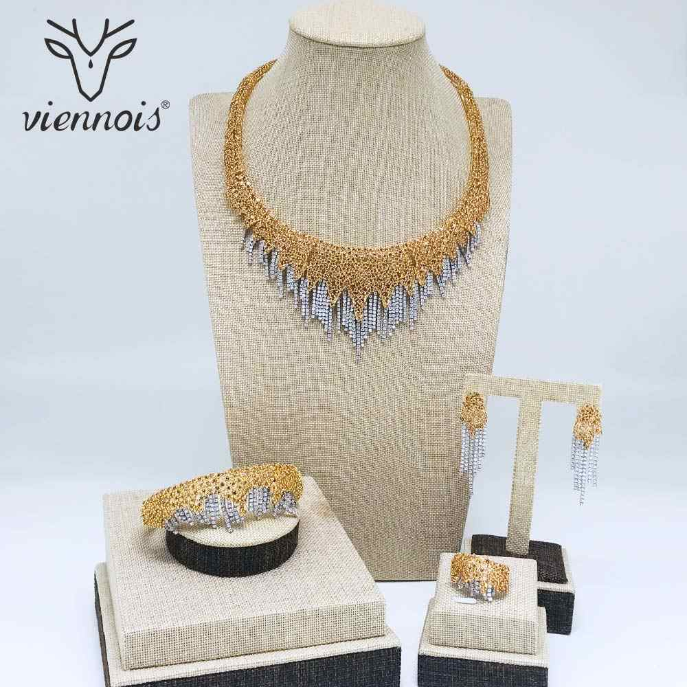 Viennois Gold/Rot/Rose Gold Farbe Halskette Set Für Frauen Strass Baumeln Ohrringe Ring Armband Set Partei Schmuck set 2019