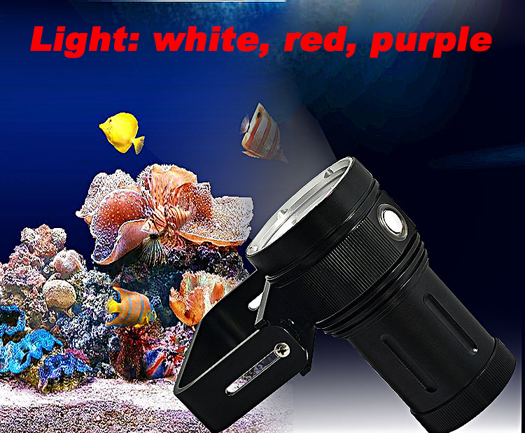 30000 LM 2 in 1 CREE 10*XM-L2 Diving Flashlight 500 meters Underwater Diving Torch Waterproof Flashlight with Battery Charger