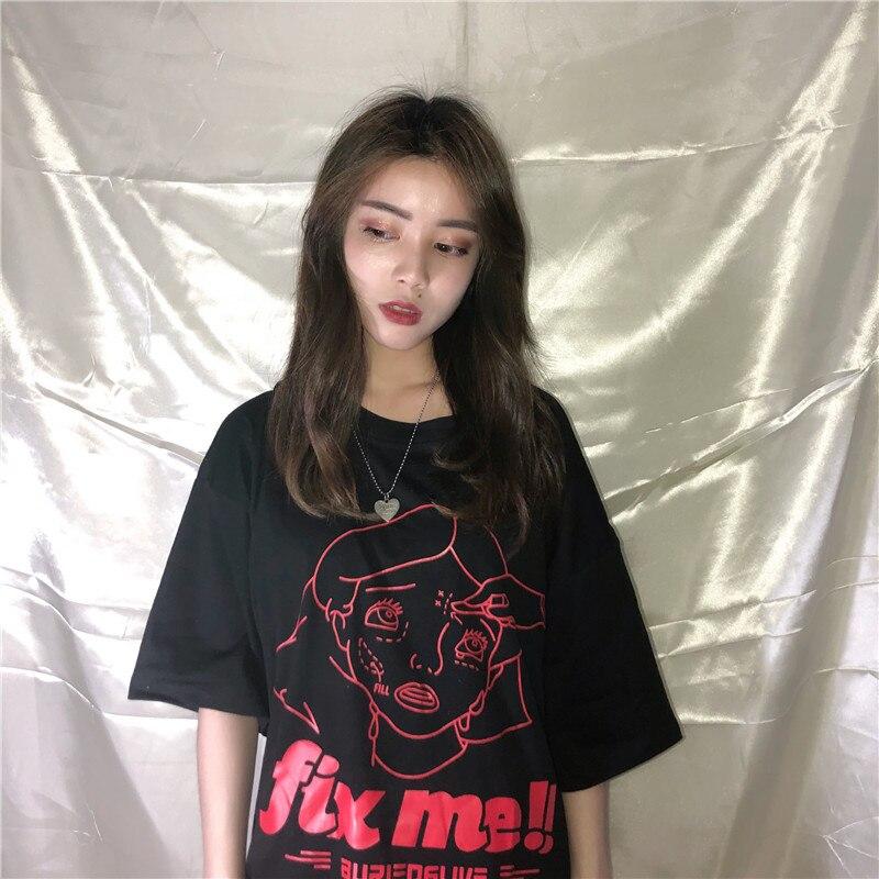 Women's Clothing Ulzzang Korean Hipster Harajuku New Summer Womens Clothing Roupas Personality Chinese Print Loose Fashion Brand Casual T-shirts